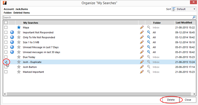 organize My Searches - Delete