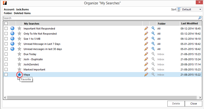 organize My Searches - Favorite