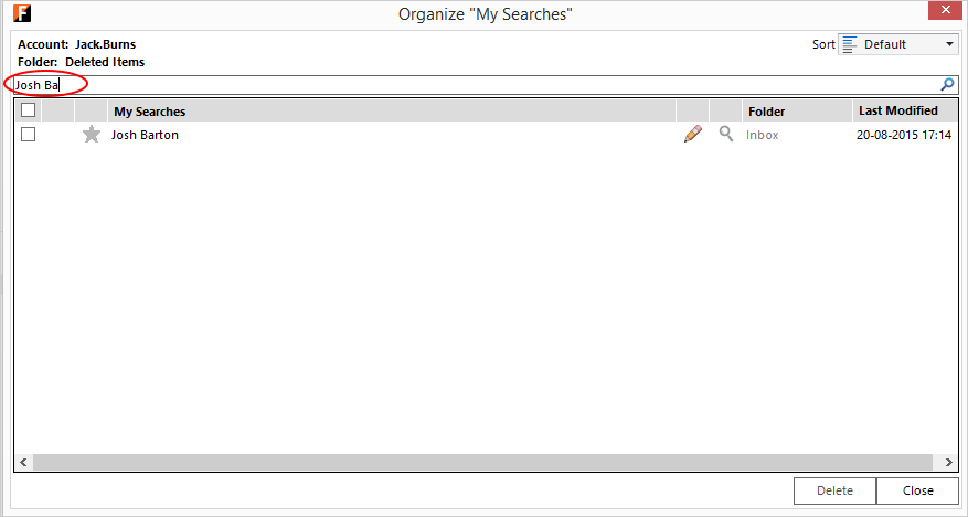 Search Locator - Outlook screen with FewClix for Outlook - organize My Searches