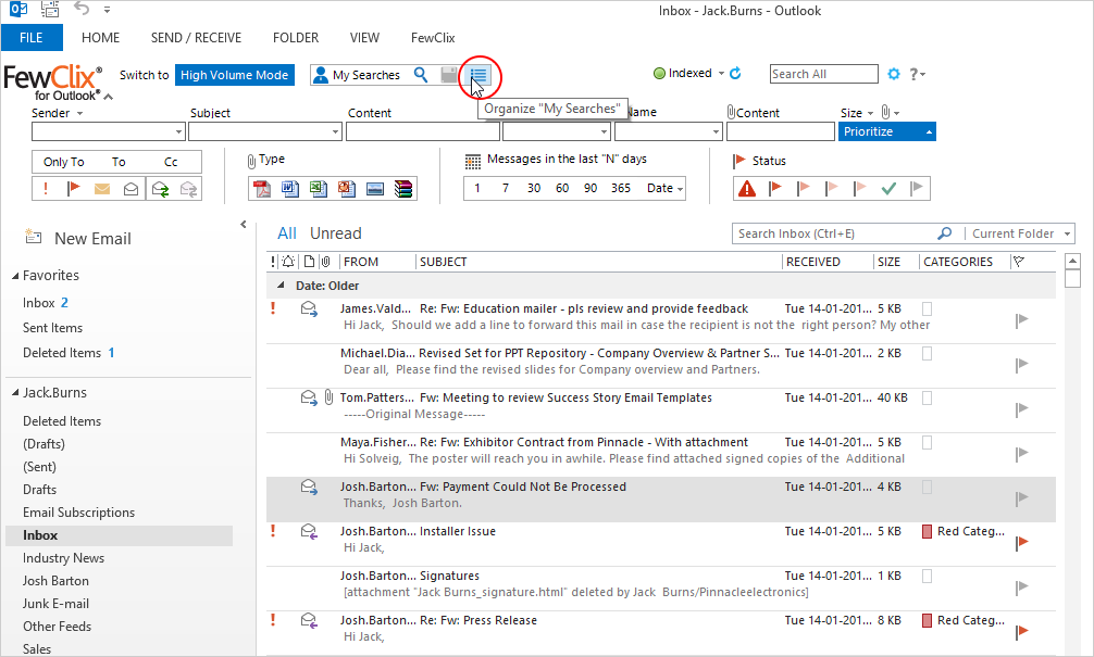 Step 0 - Outlook screen with FewClix for Outlook - organize My Searches