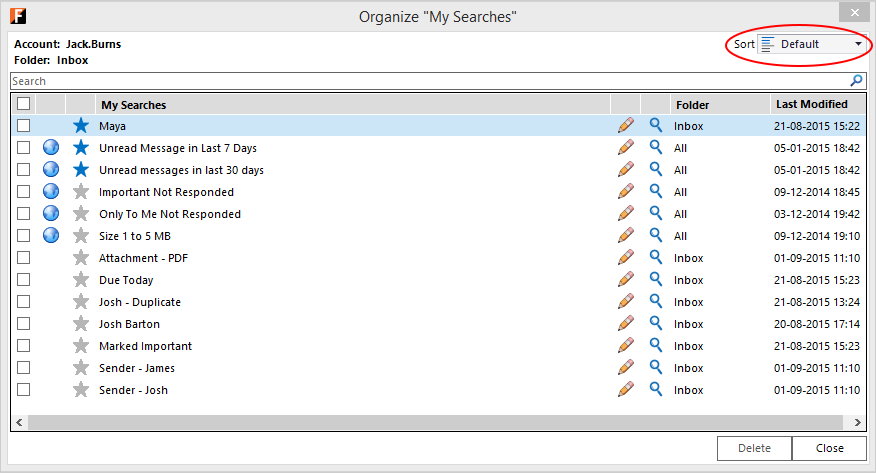 Outlook screen with FewClix for Outlook - sort My Searches