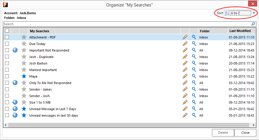 Outlook screen with FewClix for Outlook - sort My Searches Default