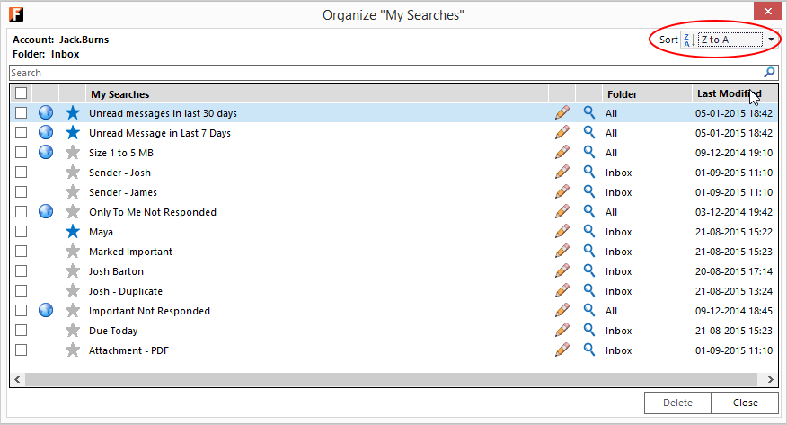Outlook screen with FewClix for Outlook - sort My Searches A to Z