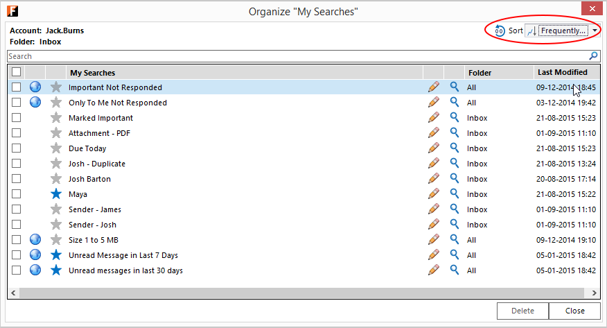 Outlook screen with FewClix for Outlook - sort My Searches Z to A
