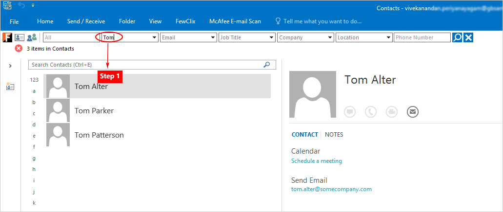 FewClix for Outlook - Contacts Search integrated into the Outlook mailbox