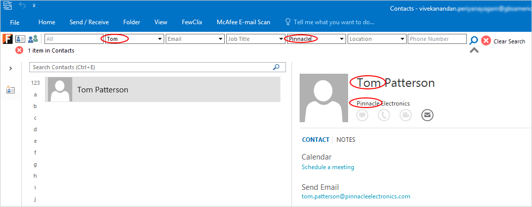 Find Any Contact by using FewClix for Outlook