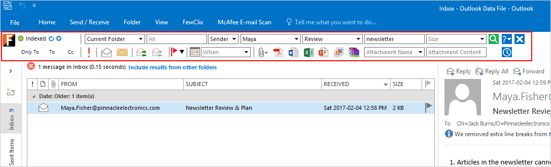 FewClix for Outlook 5.5