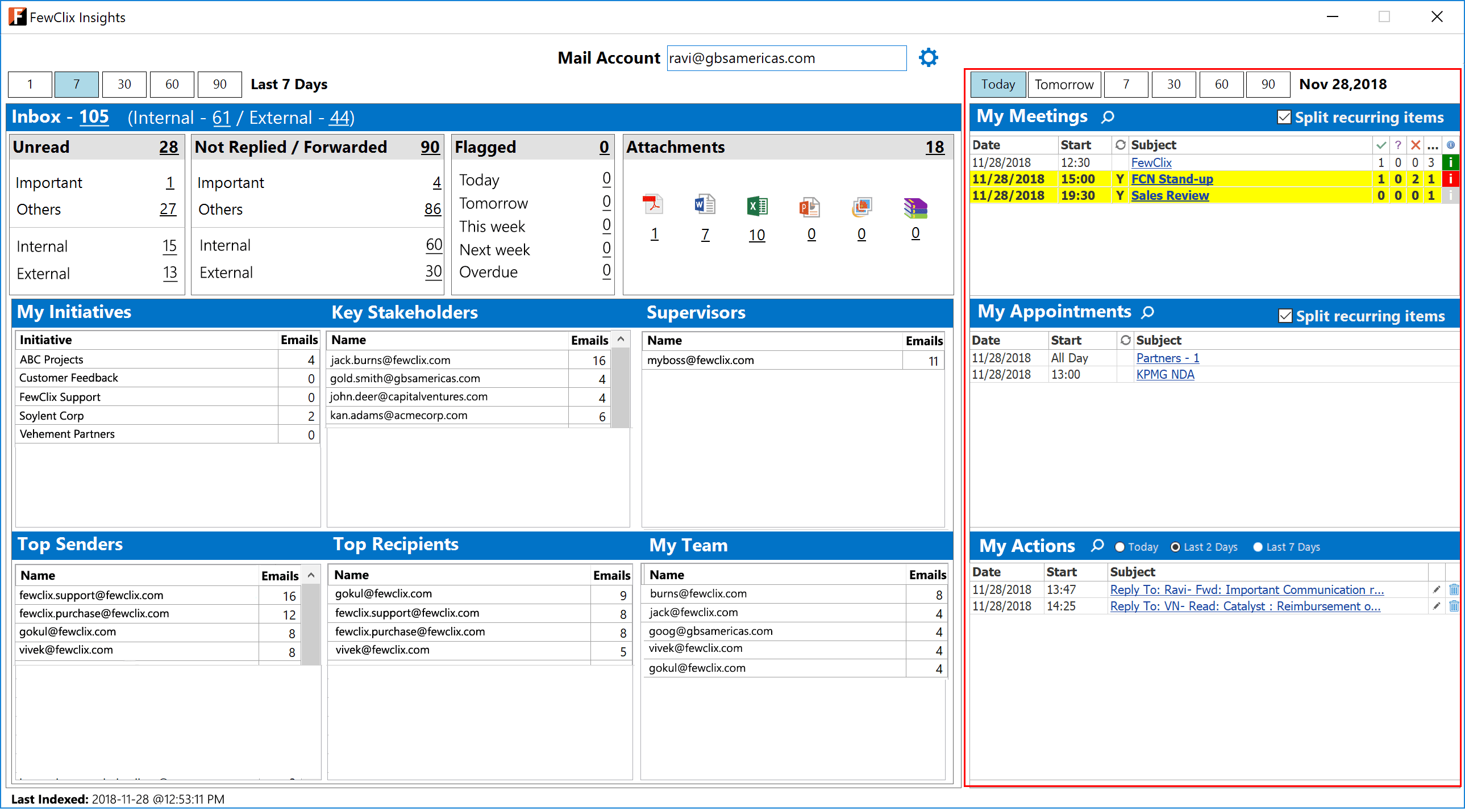 Outlook screen with FewClix for Outlook