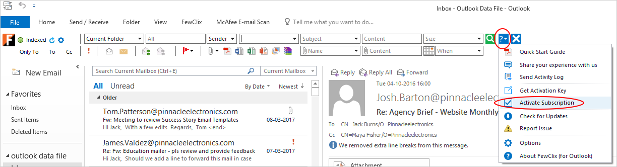 How do Activate FewClix for Outlook