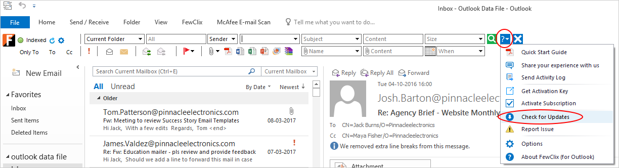 How do I check for FewClix for Outlook update